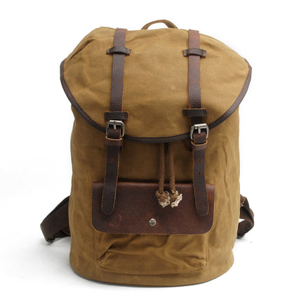 Handmade Waxed Canvas School Backpack, Casual Travel Rucksack, Overnight Bag AF27 - ROCKCOWLEATHERSTUDIO