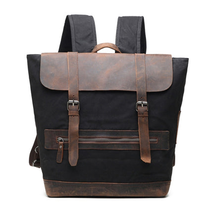 Vintage Waxed Canvas With Leather Backpack, Casual School Backpack, Weekend Bag AF28