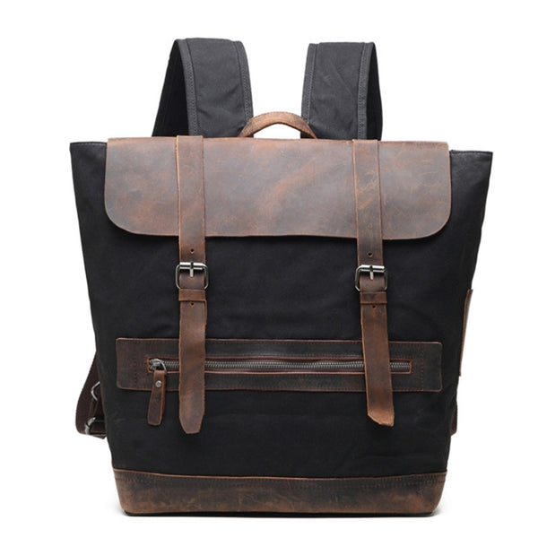 Vintage Waxed Canvas With Leather Backpack, Casual School Backpack, Weekend Bag AF28 - ROCKCOWLEATHERSTUDIO
