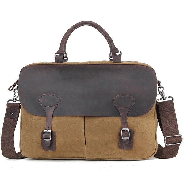 Waxed Canvas With Leather Trim Briefcase Vintage Messenger Bag Shoulder Bag AF38