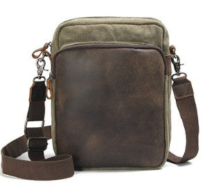 New Design Canvas Leather Messenger Bag Casual Korean Style Crossbody Shoulder Bag For Men 80562A - ROCKCOWLEATHERSTUDIO
