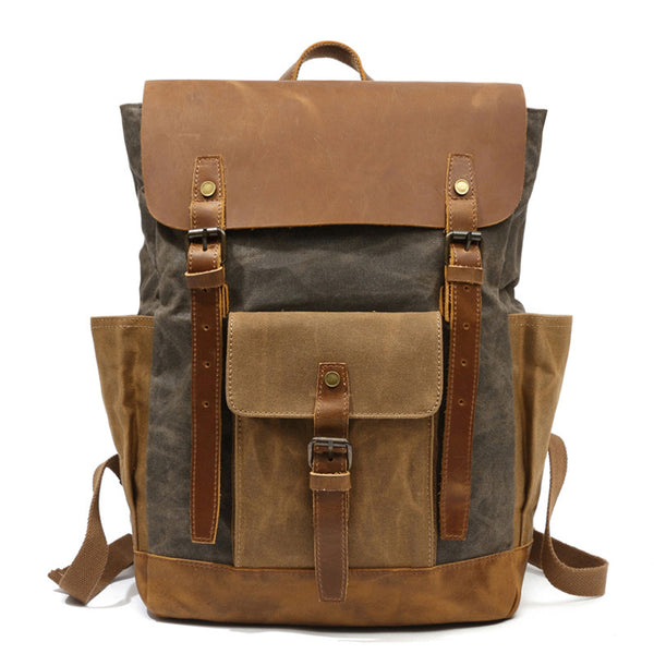 Canvas Leather Backpack, Laptop Backpack, Vintage Waterproof Shoulder Bag 8838 - ROCKCOWLEATHERSTUDIO