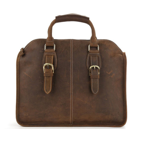 Antique Leather Laptop Briefcase Crossbody Bag Mens Messenger Shoulder Bag 3857 - ROCKCOWLEATHERSTUDIO