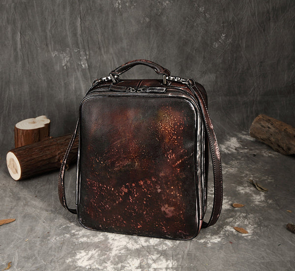 Full Grain Leather Women Handbags, School Laptop Backpack FY150279 - ROCKCOWLEATHERSTUDIO