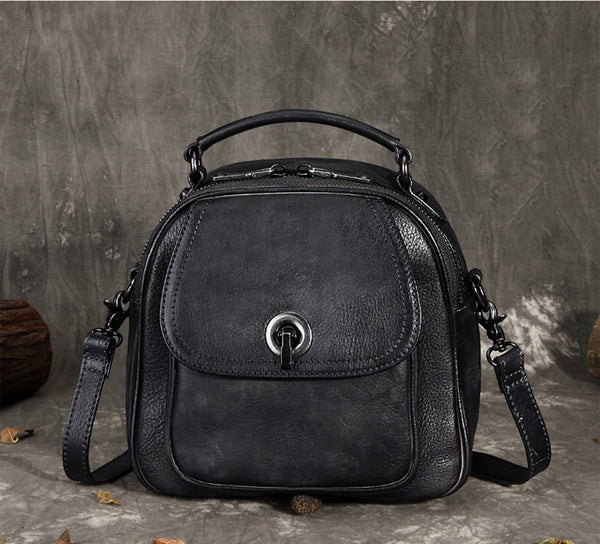 Full Grain Leather School Backpack, Vintage Women Handbag FY3489