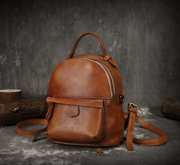 Full Grain Leather Vintage College Bag, Women Fashion Backpack FY1618 - ROCKCOWLEATHERSTUDIO