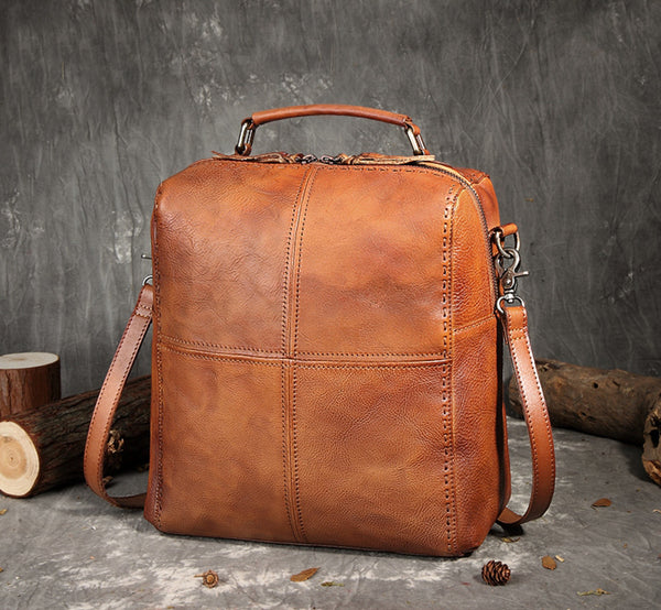 Full Grain Leather Business Handbags, Handmade Backpack For Women FY6297 - ROCKCOWLEATHERSTUDIO
