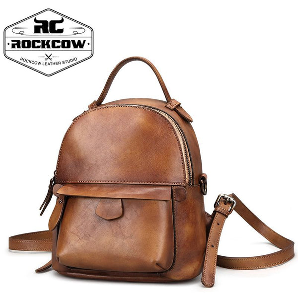 a3e46cac4 ... Full Grain Leather Vintage College Bag, Women Fashion Backpack FY1618 -  ROCKCOWLEATHERSTUDIO ...