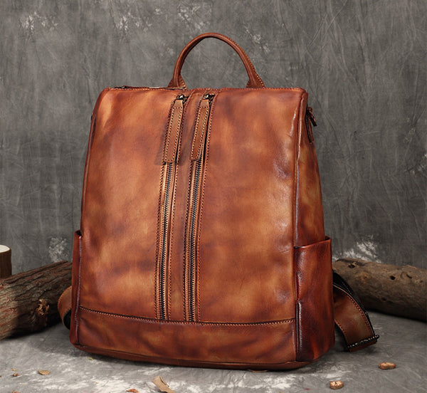 Handmade Leather Backpack, School Backpack, Handbags For Women FY8112