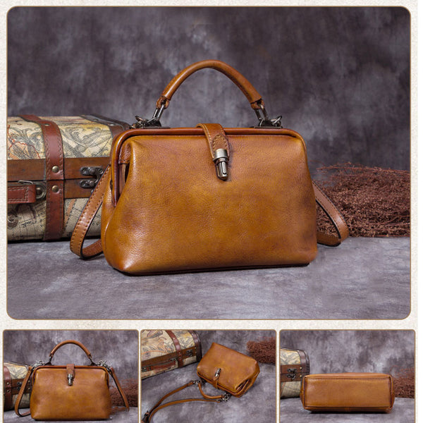 Handmade Full Grain Leather Satchel Bag, Cross-body Shoulder Bag, Women Handbag A0197 - ROCKCOWLEATHERSTUDIO
