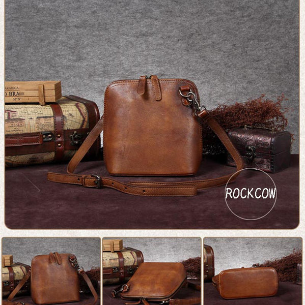 Handmade Vintage Full Grain Leather Satchel Bags, Shoulder Bag For Women A0019 - ROCKCOWLEATHERSTUDIO