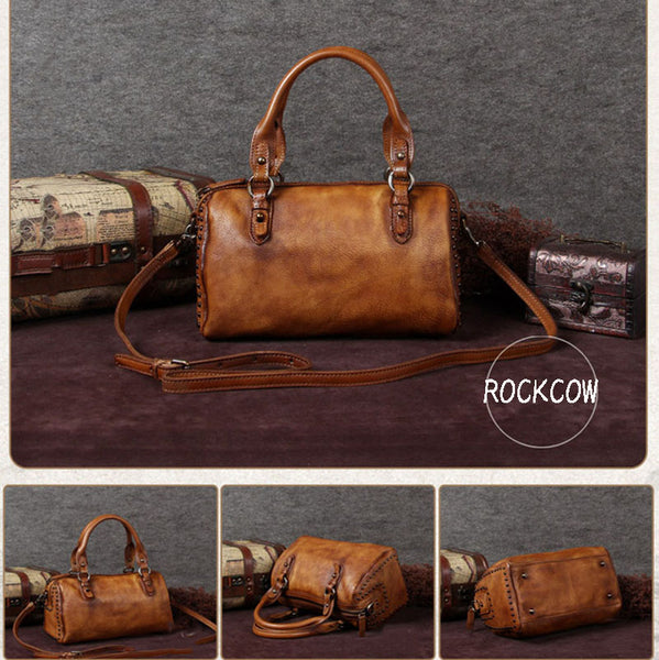 Handmade Full Grain Leather Handbags, Satchel Bags, Women Shoulder Bags A0066 - ROCKCOWLEATHERSTUDIO