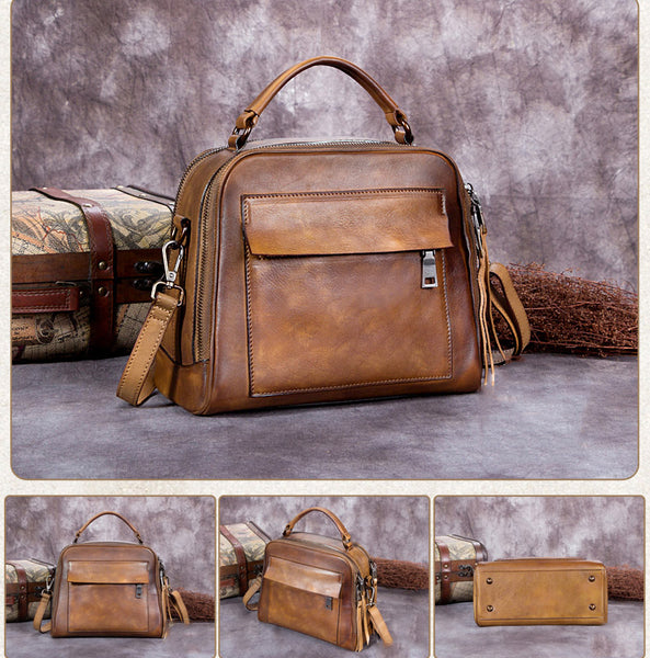 Vintage Full Grain Leather Satchel Shoulder Bag,  Handbag For Women A0193 - ROCKCOWLEATHERSTUDIO