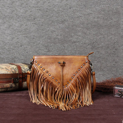 Vintage Full Grain Leather Tassel Shoulder Bag, Crossbody Bag, Women Satchel Bag F0001