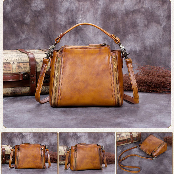 Handmade Vintage Leather Satchel Bag, Messenger Shoulder Bag, Women Handbag A0183 - ROCKCOWLEATHERSTUDIO