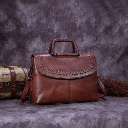 Handmade Vintage Leather Messenger Satchel Bag, Cross-body Shoulder Bag, Women Handbag A0166