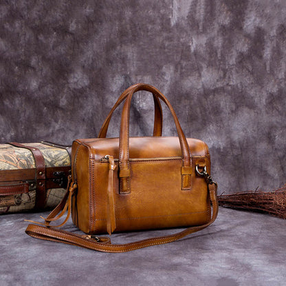 Handmade Vintage Full Grain Leather Satchel Messenger Bag, Women Handbag A0067