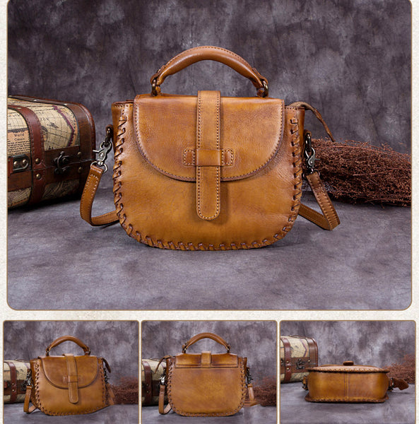 Handmade Vintage Full Grain Leather Satchel Bag, Crossbody Shoulder Bag, Women Handbag A0008 - ROCKCOWLEATHERSTUDIO