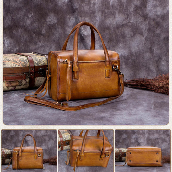 Handmade Vintage Full Grain Leather Satchel Messenger Bag, Women Handbag A0067 - ROCKCOWLEATHERSTUDIO