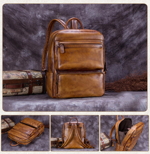 Men's Full Grain Leather Backpack, Messenger Bag, Men's Multi-Functional Handbag A0168 - ROCKCOWLEATHERSTUDIO