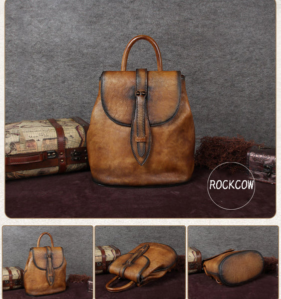 Handmade Full Brain Leather Backpack, Vintage Backpack, College Backpack A0069 - ROCKCOWLEATHERSTUDIO
