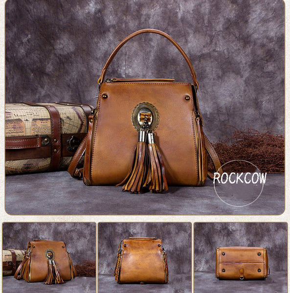 Full Grain Leather Tassel Handbag, Designer Bag, Women Shoulder Bag A0176 - ROCKCOWLEATHERSTUDIO