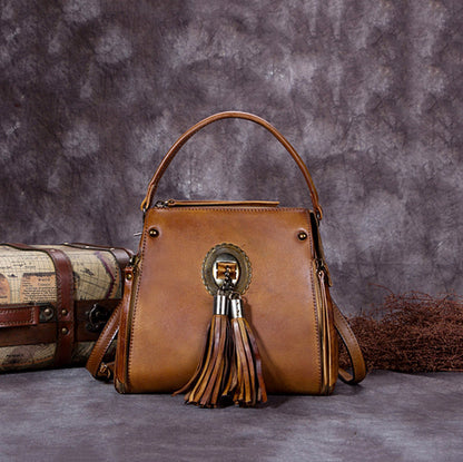 Full Grain Leather Tassel Handbag, Designer Bag, Women Shoulder Bag A0176
