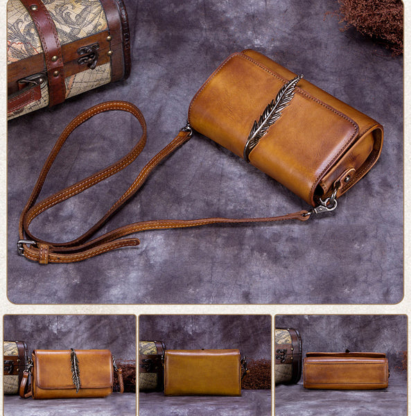 Vintage Shoulder bag, Full Grain Leather Satchel Bags For Women A0173 - ROCKCOWLEATHERSTUDIO
