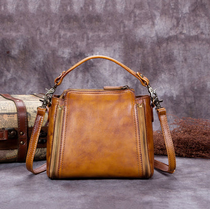 Handmade Vintage Leather Satchel Bag, Messenger Shoulder Bag, Women Handbag A0183