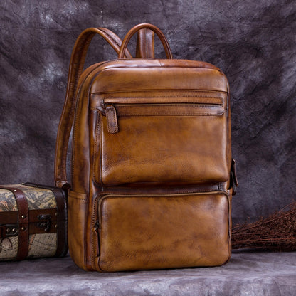 Full Grain Leather Men's Backpack, Travel Shoulder Bag, Multi-Functional Handbag A0168