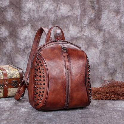 2017 New Arrival Leather Fashion Bag Vintage Backpack College School Bag For Women A0213