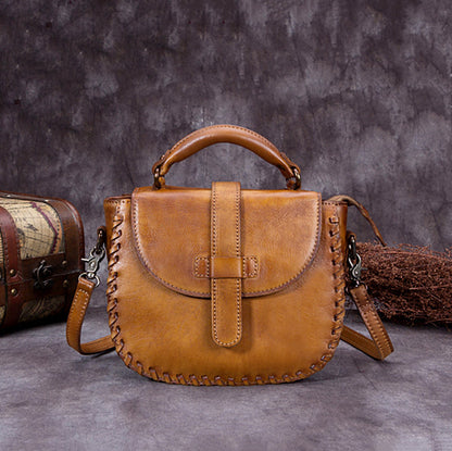 Handmade Vintage Full Grain Leather Satchel Bag, Crossbody Shoulder Bag, Women Handbag A0008