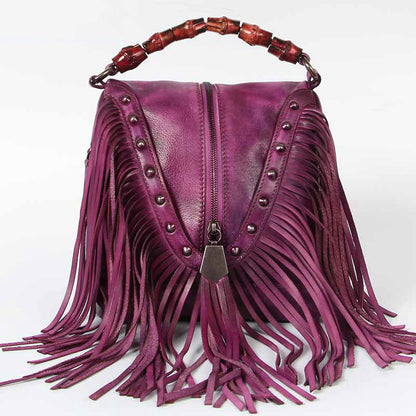 Handmade Vintage Full Grain Leather Tassel Shoulder Bag,  Women Handbag A0018