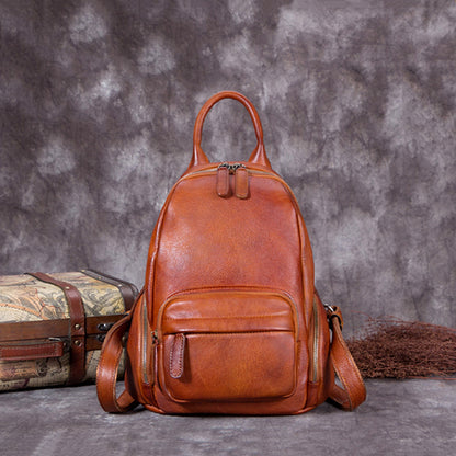 2017 Full Grain Leather School Backpack, Vintage Shoulder Travel Bag For Women A0215