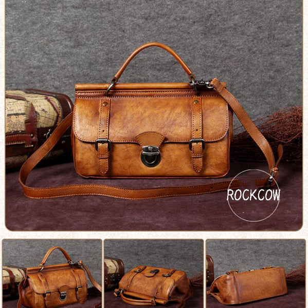 Handmade Vintage Satchel Bag, Crossbody Shoulder Bag, Handbag For Women A0035 - ROCKCOWLEATHERSTUDIO