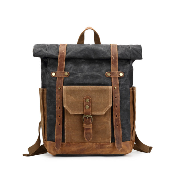 Waxed Canvas Backpack, Vintage Rucksack, Travel Backpack 8808 - ROCKCOWLEATHERSTUDIO