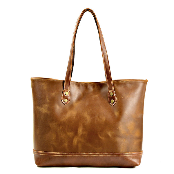 Full Grain Crazy Horse Leather Tote Bag Big Capacity Handmade Leather Shoulder Bag For Women Christmas Gifts MC9712-ZP