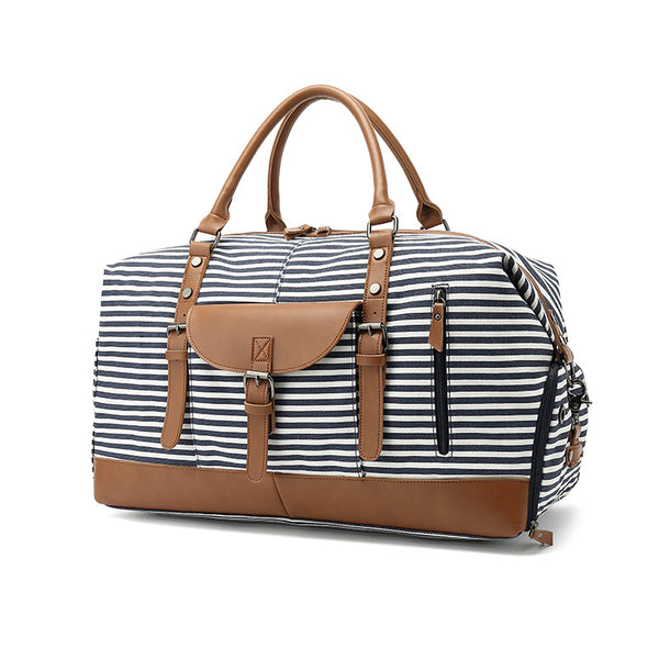 Canvas Travel Bag Waterproof Canvas Leather Gym Bag Women Duffle Bags Fashion Weekender Bag YY332-1