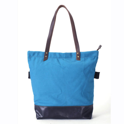 Canvas And Full Grain Leather Tote Bag, Women Shoulder Bags, Shopper Bag, Daily Bag 14044