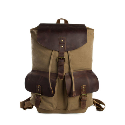 Camel Canvas Leather Backpack, Waxed Canvas Travel Backpack 1819 - ROCKCOWLEATHERSTUDIO