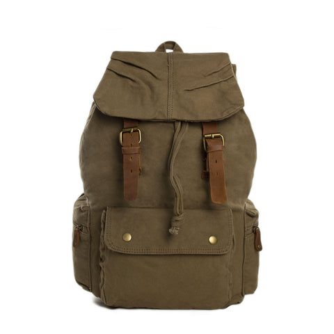 Army Green Waxed Canvas Backpack, School Backpack, Travel Backpack 1005 - ROCKCOWLEATHERSTUDIO