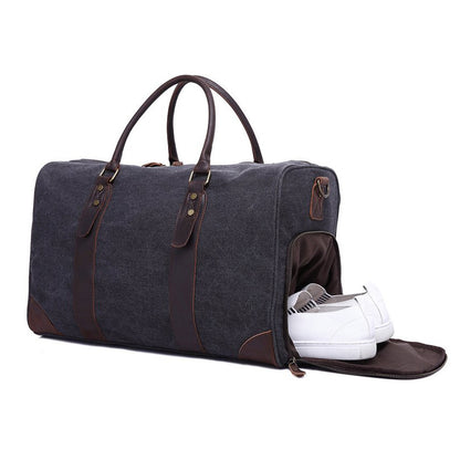 CANVAS LEATHER TRIM TRAVEL DUFFEL SHOULDER HANDBAG WEEKENDER CARRY ON LUGGAGE WITH SHOE POUCH YD3070 - ROCKCOWLEATHERSTUDIO