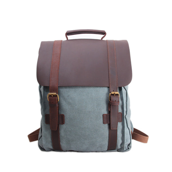 Leather-Canvas Backpack / Laptop Bag / School Bag / Travel Bag / Backpack 1820 - ROCKCOWLEATHERSTUDIO