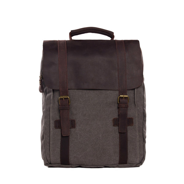 Hot Sale Canvas Leather Backpack, Waxed Canvas Shoulder Bag School Backpack 1820 - ROCKCOWLEATHERSTUDIO