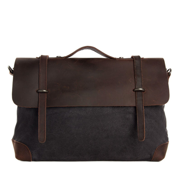 Canvas Leather Laptop Messenger Bag Shoulder Bag Briefcase Bag 6896 - ROCKCOWLEATHERSTUDIO