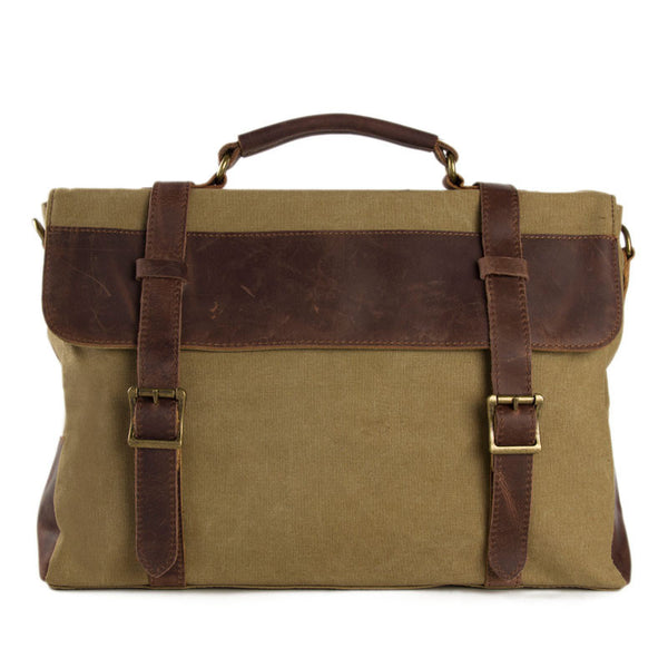 Vintage Style Canvas Leather Laptop Bag, Messenger Shoulder Bag Satchel Bag 1870 - ROCKCOWLEATHERSTUDIO