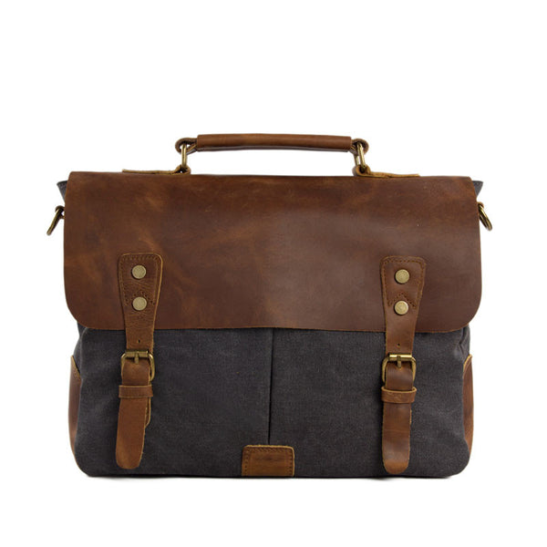 Vintage Canvas Leather Laptop Messenger Bag Crossbody Shoulder Bag Leather Briefcase Bag 1807 - ROCKCOWLEATHERSTUDIO
