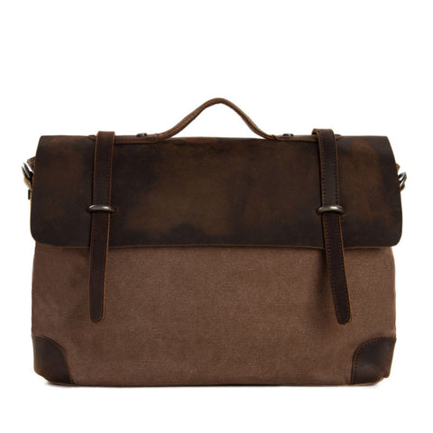 Handmade Canvas Leather Messenger Bag Laptop Shoulder Bag Briefcase 6896 - ROCKCOWLEATHERSTUDIO