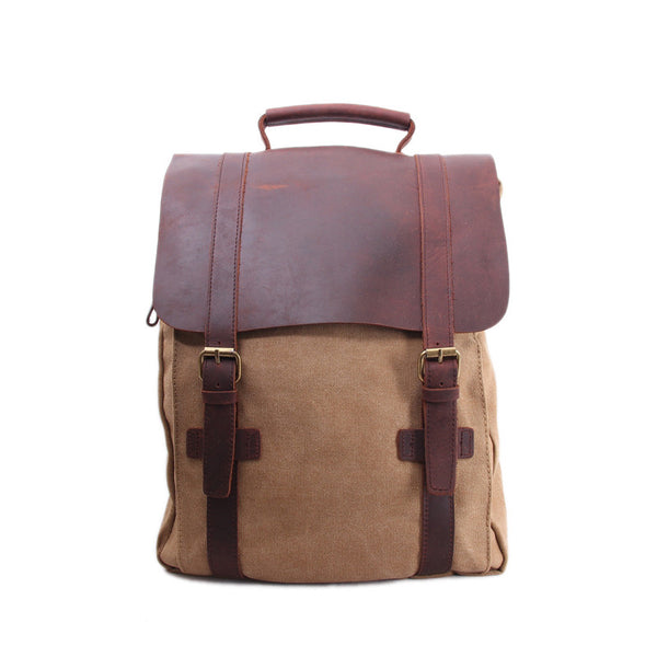 Leather-Canvas Backpack, Laptop Bag, School Bag, Travel Bag, Canvas Backpack 1820 - ROCKCOWLEATHERSTUDIO