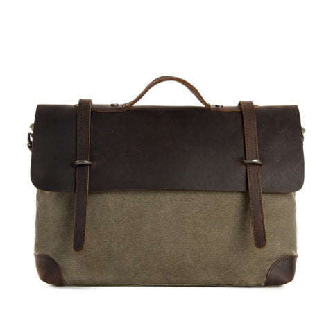 Canvas Leather Briefcase Messenger Bag Shoulder Bag Laptop Bag 6896 - ROCKCOWLEATHERSTUDIO